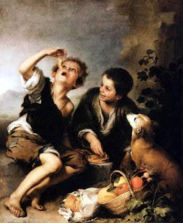 Murillo. Niños comiendo pastel (hacia 1670-75), óleo sobre lienzo 123 x 102 cm. Museo: Alte Pinakothek (Munich). Estilo: Barroco Español.